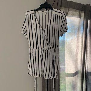 AVA & VIV Black and White stripe wrap top